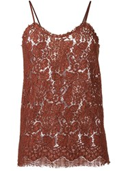 Erika Cavallini Lace Cami Top Brown