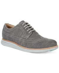 Cole Haan Lunargrand Wing Tip Wedge Sneakers Men's Shoes Pewter