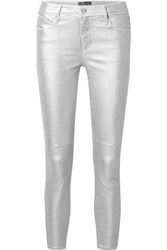 Rta Prince Metallic Mid Rise Stretch Skinny Jeans Silver
