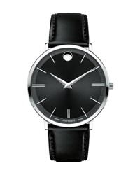 Movado 40Mm Stainless Steel And Leather Ultra Slim Watch Black