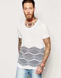 Asos T Shirt With Sketchy Hem Print And Scoop Neck In Linen Mix Nimbus Cloud White