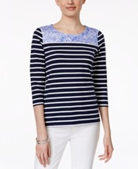 Charter Club Contrast Trim Striped Pullover Top Only At Macy's Intrepid Blue