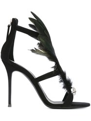 Giuseppe Zanotti Design Feather Embellished Sandals Black