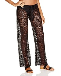 Becca By Rebecca Virtue Amore Lace Swim Cover Up Pants Black