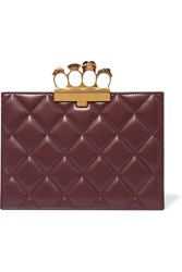 Alexander Mcqueen Knuckle Embellished Quilted Leather Clutch Burgundy