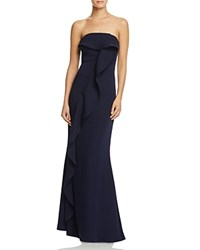 Jarlo Strapless Ruffled Gown Navy