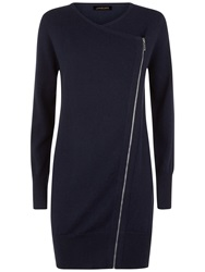 Jaeger Wool Cashmere Blend Zip Cardigan Navy