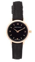 Larsson And Jennings Lugano Leather Strap Watch Rose Gold Black