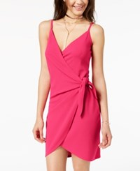 Almost Famous Juniors' Spaghetti Strap Wrap Dress Hot Pink