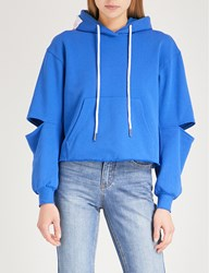 Moandco. Cutout Sleeve Cotton Blend Hoody Snorkel Blue