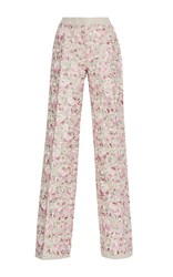 Luisa Beccaria Linen Embroidered Pants Pink