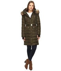 Vince Camuto Belted Faux Fur Trim Wool Coat Removable Hood And Trim L1571 Military Women's Coat Olive