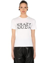 Krizia Logo Printed Cotton Jersey T Shirt White Black