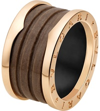Bulgari B.Zero1 Four Band 18Ct Pink Gold And Brown Marble Ring