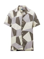 Frescobol Carioca Modernist Geometric Print Cuban Collar Shirt Grey Multi