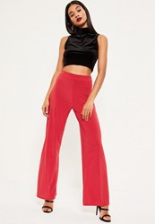 Missguided Red Wide Leg Slinky Trouser