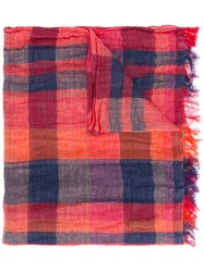 Y's Checked Scarf Red