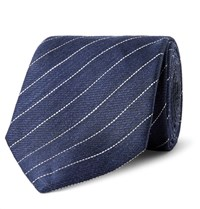 Dunhill 7.5Cm Striped Linen And Mulberry Silk Blend Tie Blue