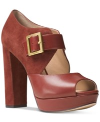 Michael Kors Eleni Mary Jane Platform Pumps Women's Shoes Brick
