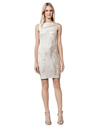 Julia Jordan Sequined Mesh Sheath Dress Champagne