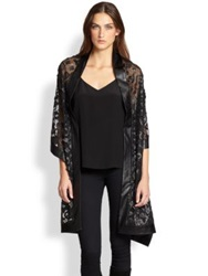 Harrison Morgan Sheer Floral Detail Wrap Black