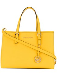 Michael Michael Kors Tag Plaque Tote Women Leather One Size Yellow Orange