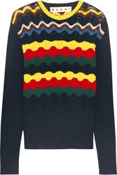 Marni Pointelle Knit Cotton Blend Sweater Navy