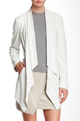 Vakko Faux Leather Draped Jacket White