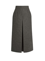 Saint Laurent Wide Leg Wool Culottes Grey