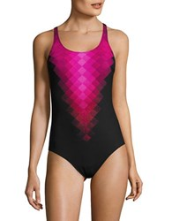 Profile Sport Square Ombre Print One Piece Swimsuit Black Pink