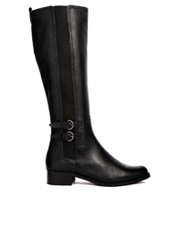 Dune Timpleton Buckle Riding Knee Boots Blackleather