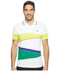 Lacoste T2 Engineered Color Block Ultra Dry Polo White Lemon Tree Black France Woodland Green Men's Short Sleeve Pullover Multi
