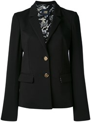 Class Roberto Cavalli Notched Lapel Fitted Jacket Women Silk Cotton Polyamide Viscose 40 Black