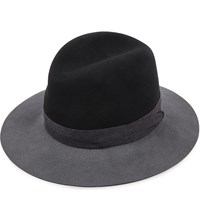 Rag And Bone Floppy Brim Wool Fedora Hat Black Multi
