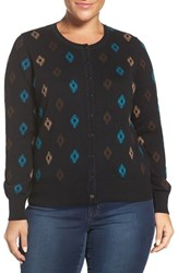 Foxcroft Plus Size Women's 'Aztec Pattern' Button Front Cardigan