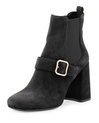 Prada Gored Suede 85Mm Ankle Boot Black
