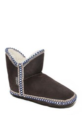 Muk Luks Amira Suede Faux Fur Lined Slipper Boot Brown