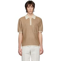 Christophe Lemaire Brown And Off White Knitted Polo
