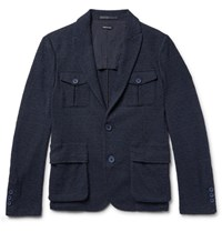 Giorgio Armani Blue Slim Fit Cotton Blend Boucle Blazer Navy