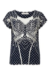 Sugarhill Boutique Butterfly Polka Top Navy