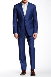 Vince Camuto Blue Pixel Two Button Notch Lapel Wool Suit