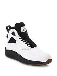 Article Number Two Tone Leather High Top Sneakers White Black