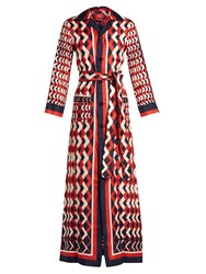 F.R.S For Restless Sleepers Lelantos Geometric Print Silk Maxi Dress Red Navy
