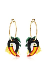 Nach Toucan And Palm Leaves Hoop Earrings