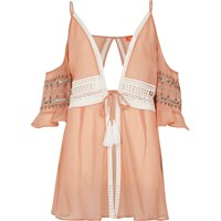 River Island Pink Crochet Lace Trim Beach Cover Up