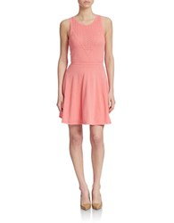 Trina By Trina Turk Roxanna Pointelle Knit Fit And Flare Dress Summer Melon