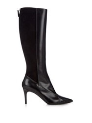 Max Mara Snakeskin And Leather Knee Boots