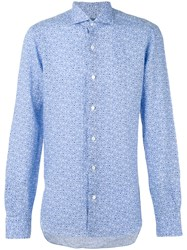 Barba Fine Floral Print Shirt Men Linen Flax 41 Blue