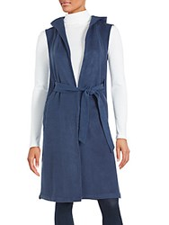 State Of Being Solid Sleeveless Long Jacket Blue