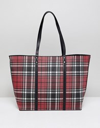 New Look Tartan Tote Bag Red